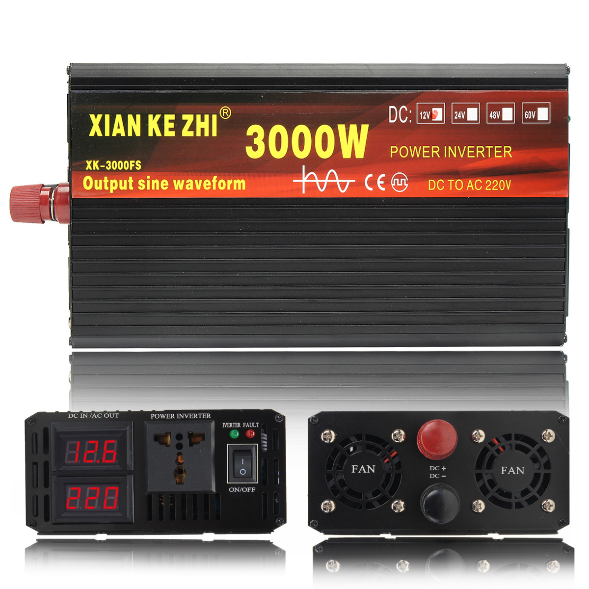 Top SaleInverter Voltage-Transformer Led-Display Wave Pure Sine 220V 3000/4000W 12V/24V To DC12V