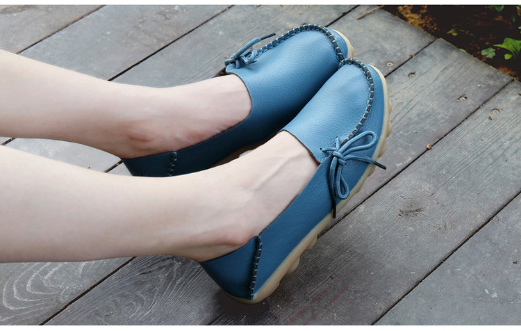 AH 911-2019 Spring Autumn Genuine Leather Women Loafers Walking Mother Flats-5