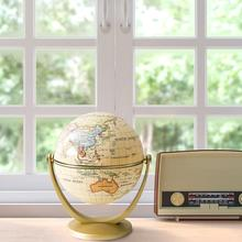 Mini Vintage Globe World Map English Edition Desktop Rotating Earth Globe with Base Geography Classroom Home Office Decoration