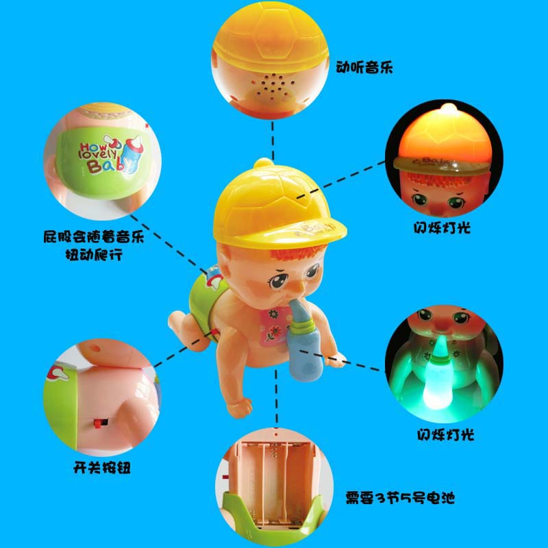 New Hot Selling Model Feeding Bottle Electric Crawling Doll Smart Music Flash Children Early Childhood Educational Toy