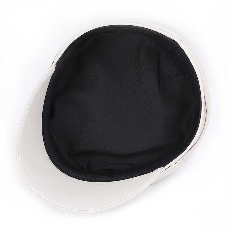 2019 الخريف بحار قبعة للنساء الرجال أسود رمادي شقة أعلى الإناث السفر كاديت قبعة القبطان الأزياء بو الجلود قبعة عسكرية