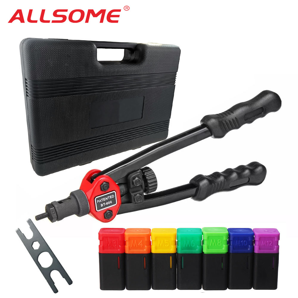 "ALLSOME BT-605 Riveter Nut Guns Auto Rivet Tool 12"" Riveter Nut Tool Hand Insert Rivet Nut Tool Manual Mandrels M3 M4 M5 M6 M8"