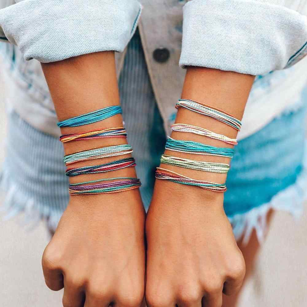 bohemian boho summer beach friendship bracelets jewelry handmade adjustable wax string bracelets for women