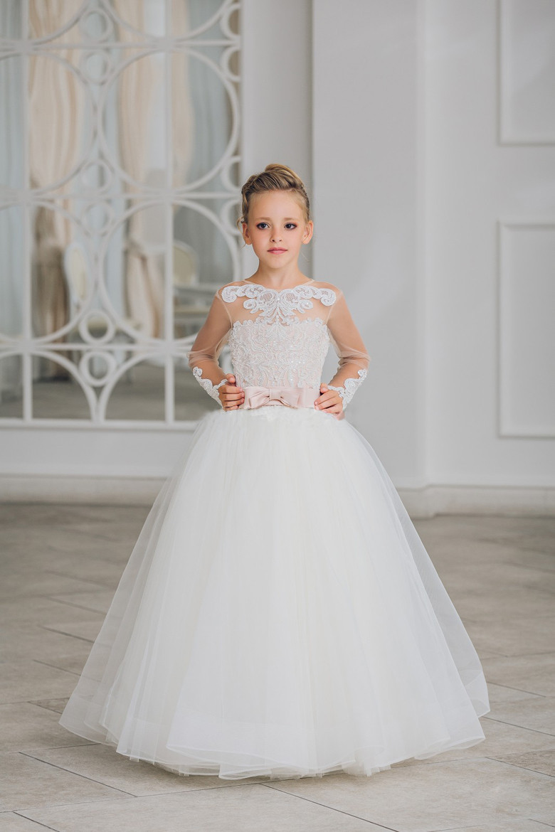 Long Sleeves 2019   Flower     Girl     Dresses   For Weddings Ball Gown Tulle Appliques Beaded Long First Communion   Dresses   Little   Girl