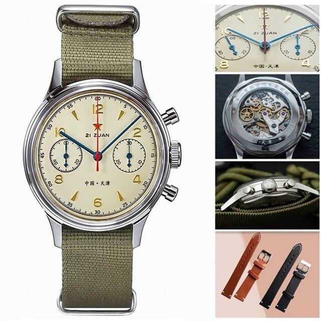 Fashion 38mm Men Chronograph Watches Sapphire Mechanical 1901 Seagull Movement Military Pilot Mens Chronograph Watch 1963 40mm 1
