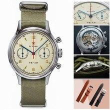 אופנה 38mm גברים הכרונוגרף שעונים ספיר מכאני יד רוח 1901 תנועה צבאי טייס Mens הכרונוגרף שעון 1963 40mm