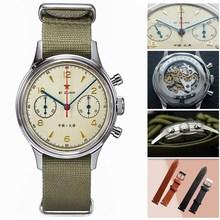 Moda 38mm cronografo da uomo orologi zaffiro meccanico carica manuale 1901 movimento militare pilota orologio cronografo da uomo 1963 40mm
