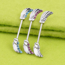 3 Pairs Nipple Ring Angel Feathers Bar Body Jewelry 16G Shield(China)