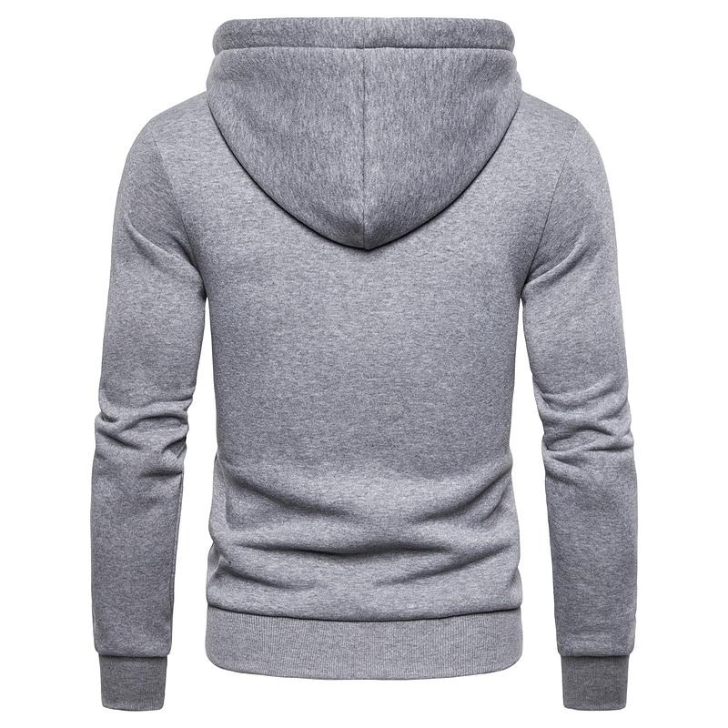 2019 New Autumn Winter Cotton Hoodied Mens Sweatshirts Solid Hoody Fleece Thick Hoodies Men Sportswear Zipper Sweatshirts Men 3
