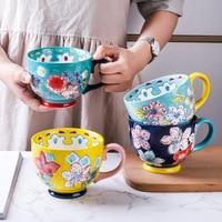 セラミックコーヒーマグやカップ大容量ハンドペイントの花家庭用オフィス使用磁器クリエイティブ飲料水マグ