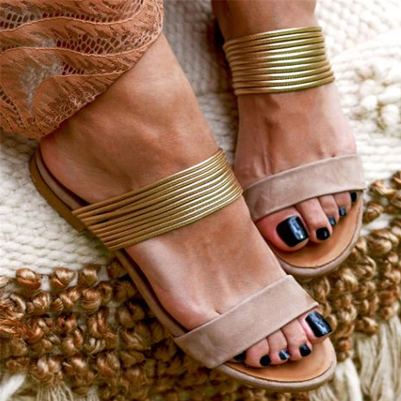 GAOKE Women Rome Sandals New Summer Hot Retro Wedges Gladiator Non-slip Slippers Ladies Party Office Shoes Beach Sandals Slides