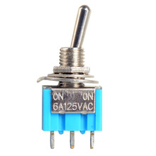 цена на Mini Miniature Toggle Switches MTS-103 3-Pin ON-OFF-ON 10pc/LOT Blue Mini MTS-102 3-Pin SPDT ON-ON 6A 125VAC