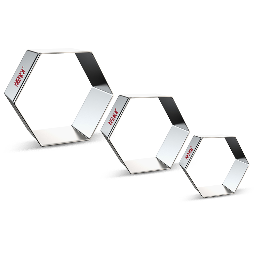 ZADE Hexagon Cookie Cutters Set For Geometric - 3 Piece - Large/Medium/Small Fondant Cookie Cutters - Stainless Steel