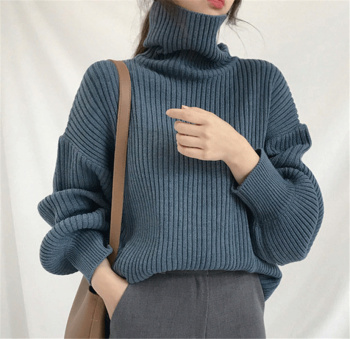 Ailegogo New 2020 Women Pullovers Sweater Knitted Autumn Winter Thick Warm Turtleneck Lantern Sleeve Casual  Loose Tops 1