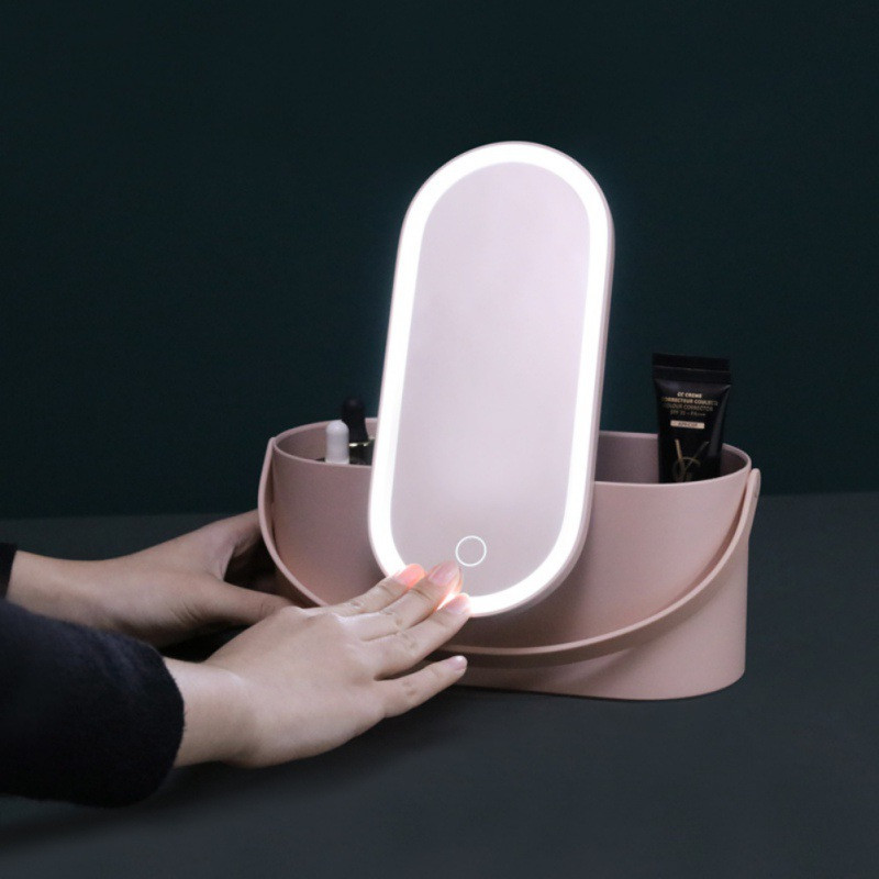 Travel Makeup Tools Cosmetics Organizer With LED Lights Makeup Mirror Creative 2 In 1 Portable Makeup Storage Box Case