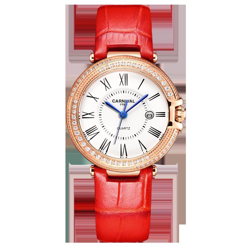 Carnival Women Watches Luxury Diamond Ladies Quartz Watch Leather Strap Wrist Watch Relogio Feminino - 6
