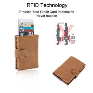 Image 4 - DIENQI kredi kart tutucu erkekler kadınlar Metal RFID Anti manyetik Vintage alüminyum çılgın at PU deri kart cüzdan bozuk para çantaları