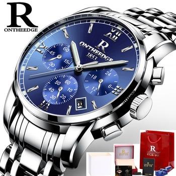 ONTHEEDGE Mens Watches Top Brand Luxury Business Quartz Watch Men All Steel Blue Face Waterproof Chronograph Relogio Masculino блеск для губ top face top face to059lwexeg3