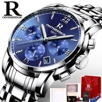 Ontheedge relógios dos homens marca superior luxo negócio relógio de quartzo todo o aço azul rosto à prova dwaterproof água cronógrafo relogio masculino