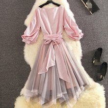 2020 Summer New Women O Neck Half Sleeve Shirt + Irregular Mesh Skirt Two Piece Sets Ladies Knee Length Set Outfits AQ608(China)