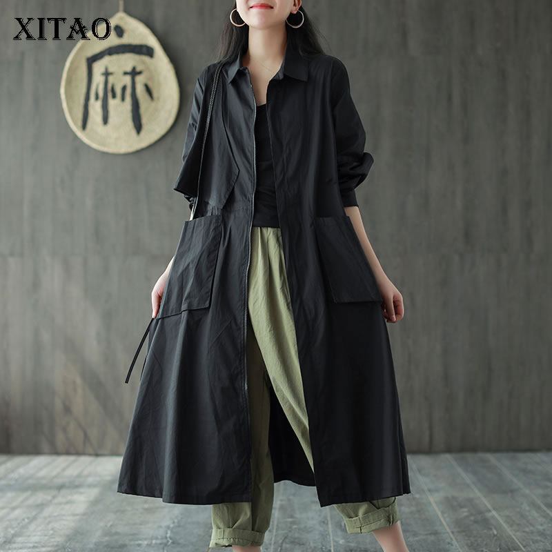 XITAO New Women Irregular Trench Fashion New 2020 Spring Solid Color Pocket Loose Elegant Minority Style Pleated Coat ZLL4855