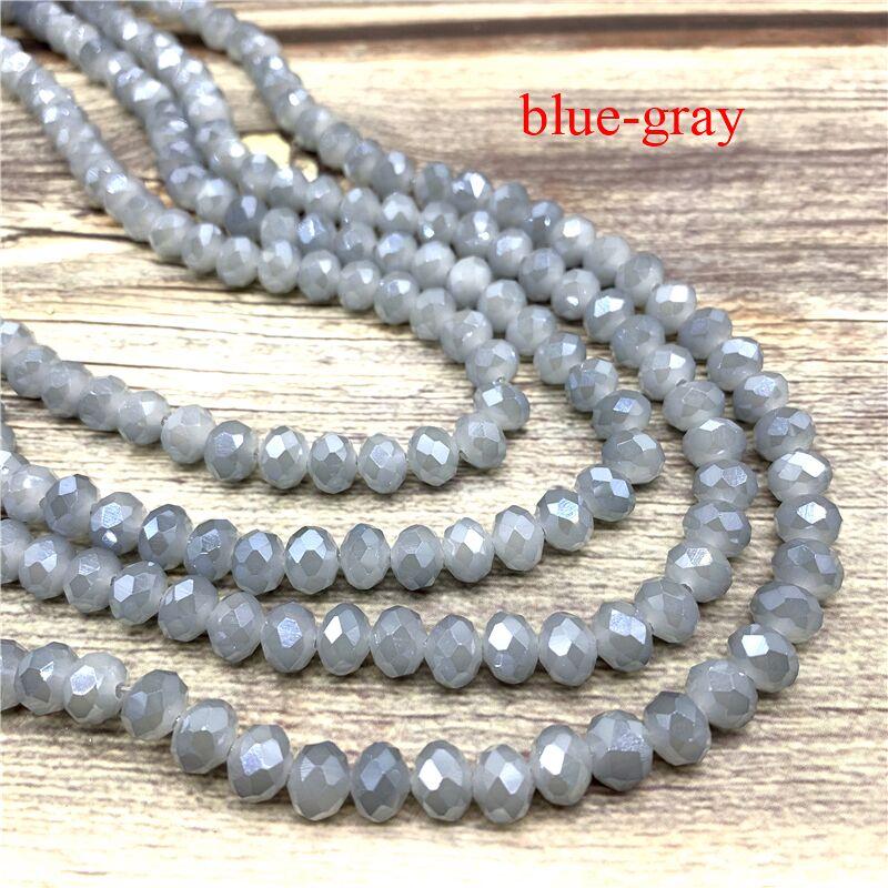 2X3/3X4/4X6/6X8 мм хрустальные бусины AB разноцветные стеклянные бусины Sapcer для ювелирных изделий ручное кольцо Ожерелье Изготовление DIY - Цвет: Blue-gray