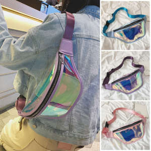 Fanny Packs Pouch Bum-Bags Waist-Bag Punk Holographic Waterproof Womens New Pochete