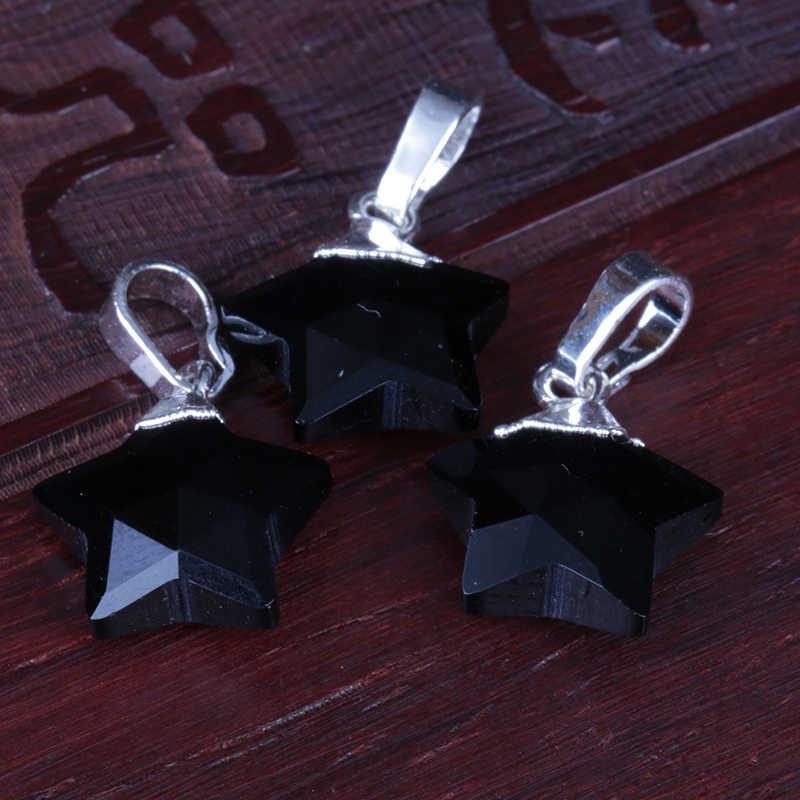 自然な黒黒曜石 glasslike 火山水晶石スターチャーム珍味シルバーペンダントチョーカーネックレス女性男