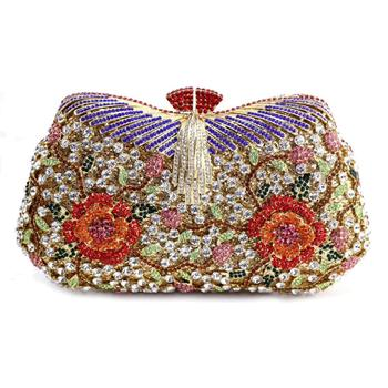Hollow Out Flower Crystal Evening Clutch   3