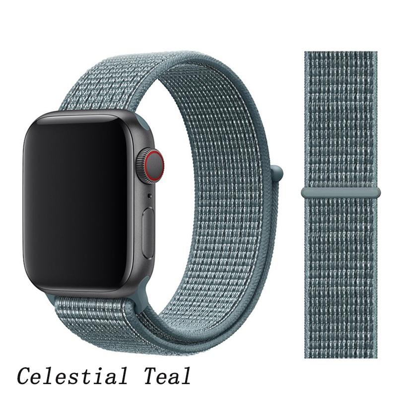 Спортивная петля ремешок apple watch band 42 мм 38 мм apple watch 4 3 band iwatch band 44 мм 40 мм correa pulseira 42 44 нейлоновый ремешок для часов - Цвет ремешка: Celestial Teal