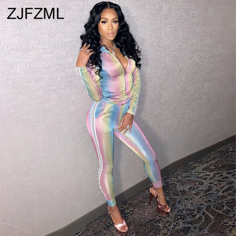 Fashion Printing 2 Piece Female Tracksuit Turn-Down Collar Long Sleeve Front Zipper Top And High Waist Bandage Pants Sweat Suit
