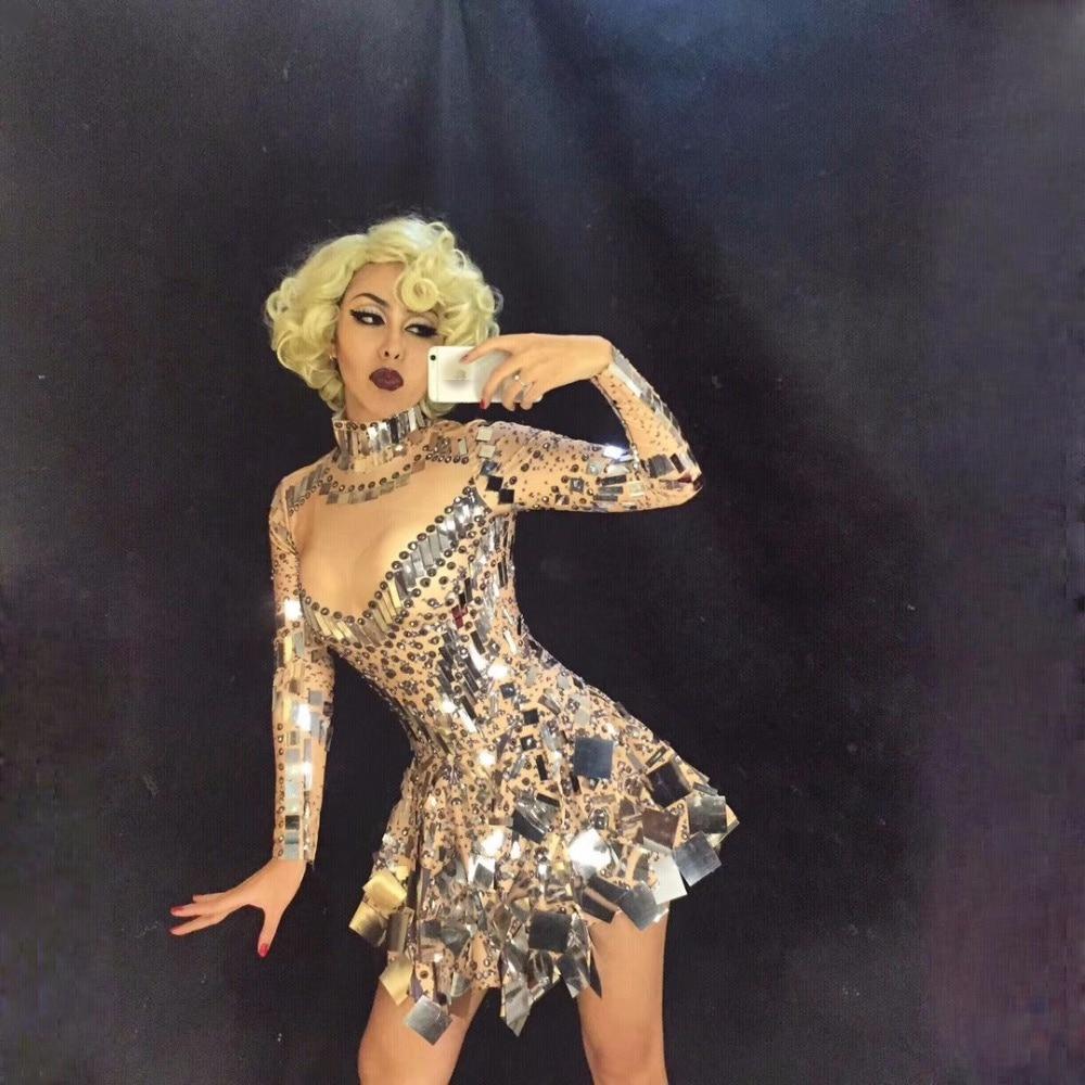 Singer Mirror Dress Stage Dance Wears Sparkly Silver Sequins Bodysuit Dress Rhinestone Costume