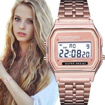 Relógio de moda para as mulheres de luxo digital à prova dwaterproof água led display eletrônico relógio de pulso calendário alarme relógio feminino presente de ouro rosa 1