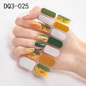14pcs/sheet Glitter Gradient Color Nail Stickers Nail Wraps Full Cover Nail Polish Sticker DIY Self-Adhesive Nail Art Decoration 126