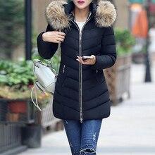 Winter Jacket Women Big Fur Belt Hooded Thick Down Parkas Wa