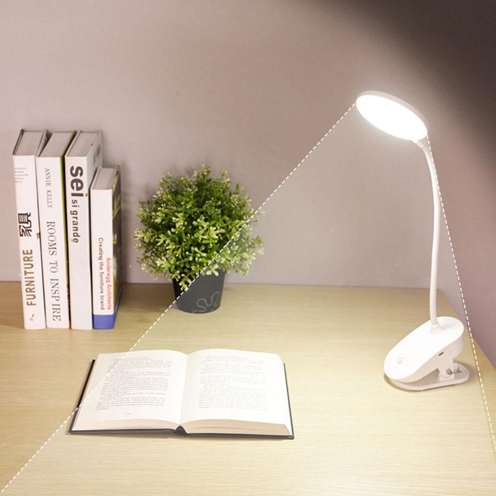 Беспроводная Настольная лампа с зажимом, с 3 режимами работы, перезаряжаемый аккумулятор 18650 для книжной кровати, Flexo, 1200 мАч, сенсорная насто...