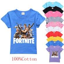 Venda quente fortnite verão menino camiseta para crianças 100% algodão da criança do bebê engraçado jogo t camisas moda meninas meninos presente de aniversário