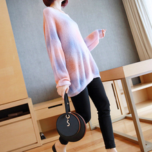 Loose Modis Casual Tie Dye Sweater Women Oversized 2019 Autumn Winter Knitted Pullovers Sweater Ladies Pink Blue Fall Sweaters