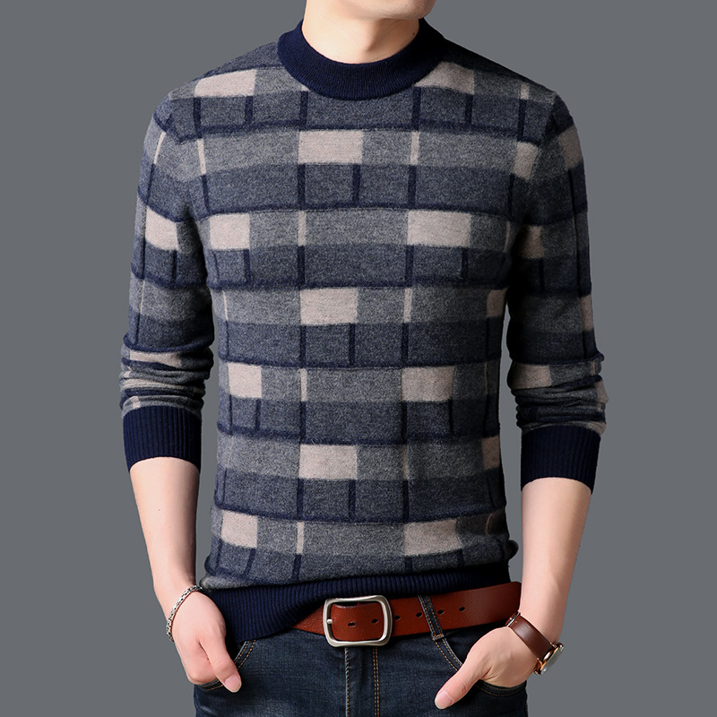ICPANS Merino Wool Sweater Men Knit Wear Plaid O-Neck Mens Pullover Winter Thick Warm Soft Cashmere Sweaters Knitting