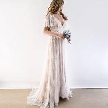 Champagne Prom Dresses 2020 V Neck Vintage Cap Sleeve Lace V