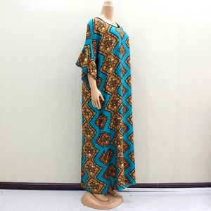 Image 3 - 2019 Dashikiage Beautiful African Fashion O Neck Short Flare Sleeve Elegant Noble Women Long Dress With Scarf