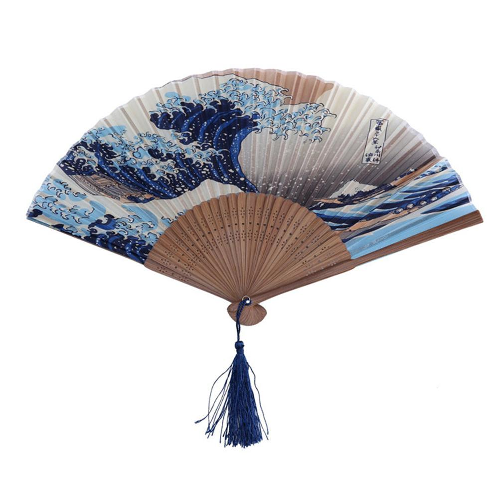 Hand Fan Mount Kanagawa Japanese Waves Folding Pocket Fan Wedding Accessories Decoration Gift Event Supplies