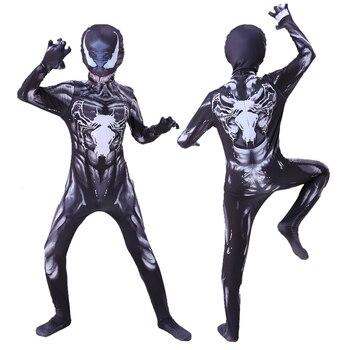 цена Venom Kids Costume Boys cosplay Superhero Venom Costumes suit Jumpsuit Bodysuit Halloween Carnival Party Costume For Adult Child онлайн в 2017 году