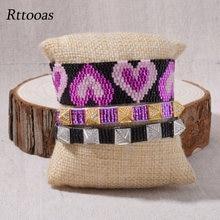 Браслеты rttooas с фиолетовым сердцем для женщин бусины Миюки