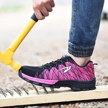 HEFLASHOR Labor Insurance Shoes Men Mesh Breathable Antismashing Anti-piercing Sturdy Male Work Footwear Men Safety Sport Shoes