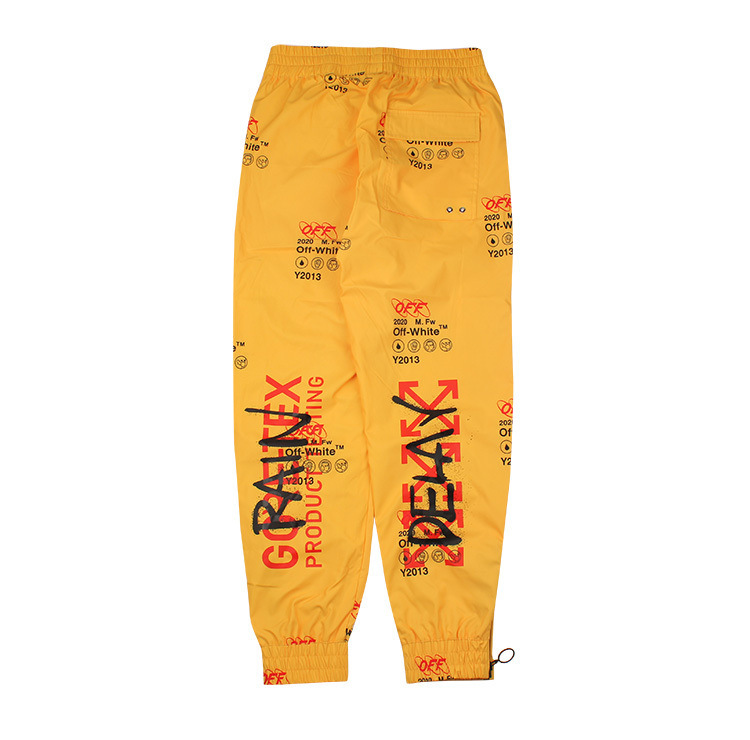 Ow Yellow Graffiti Casual Pants Men And Women Popular Brand Trousers High Quality
