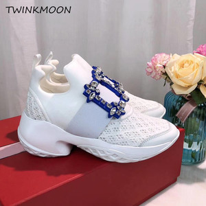 Image 3 - Platform Sneakers Crystal Buckle Air Mesh Designer Trainers Thick Bottom Chunky Womens Sneakers Vulcanized Casual Shoes 2019
