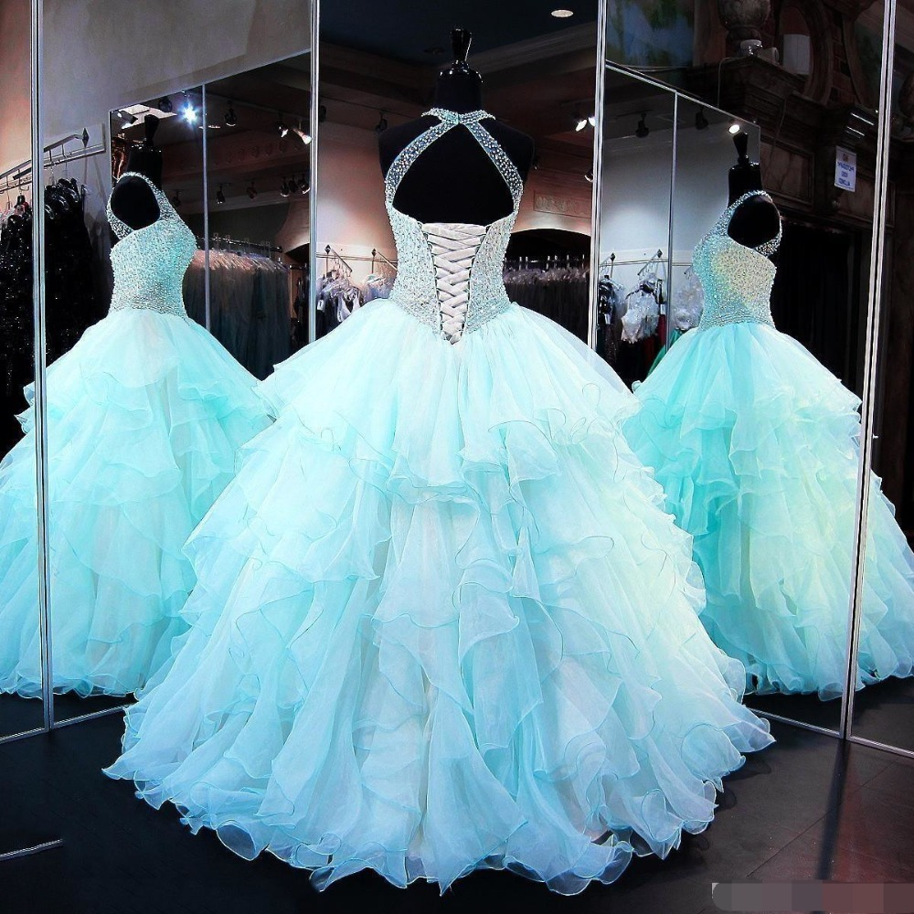 Light Blue Quinceanera dresses Ball Gown halter Crystal Beading Organza Ruffles Sweet 16 Plus Prom dress vestidos de 15 anos