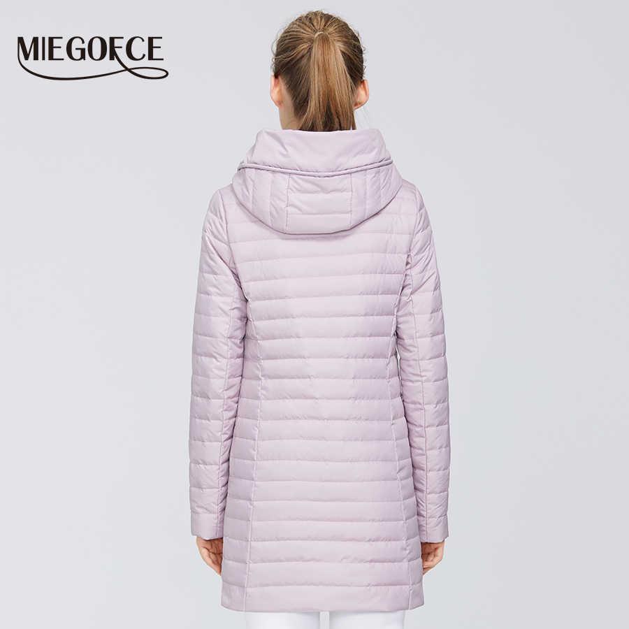 MIEGOFCE 2020 새로운 봄 컬렉션 여성 코튼 자켓 중간 긴 내성 칼라 파카 후드 지퍼 여성 코트