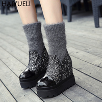Woman Boots Black/Silver Platform Wedges Shoes 11cm High Heel Socks Boots Fashion Warm Socks Women Ankle Boots
